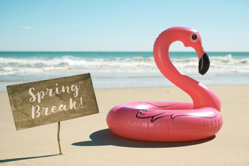 Text spring break in a signboard on the beach stock images