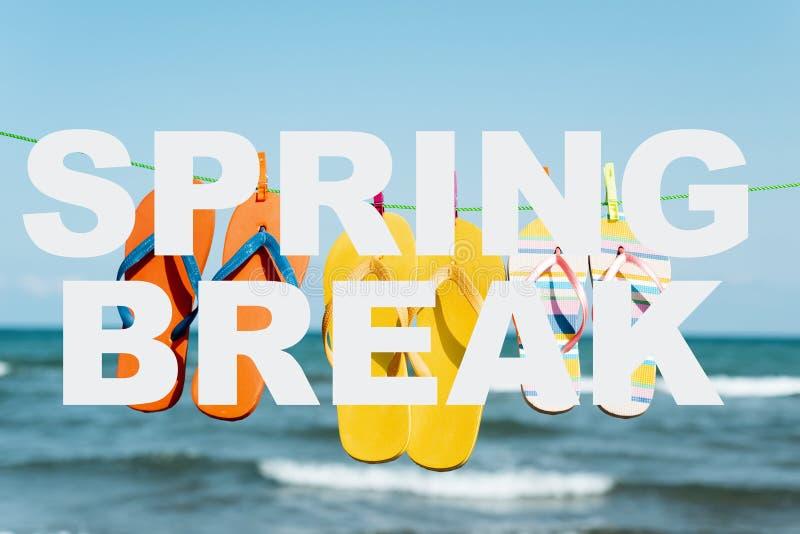 Text spring break and flip-flops on the beach stock photos