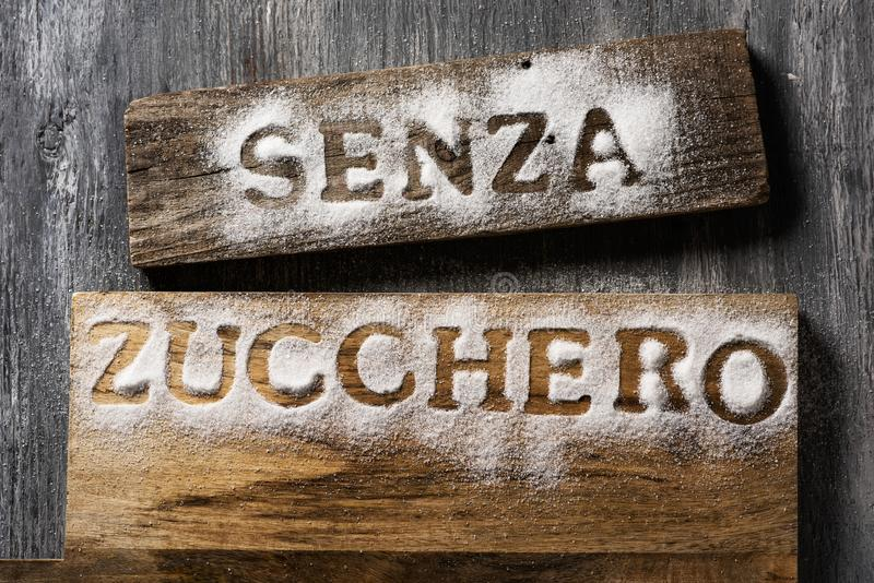 Text sugar free in Italian written with sugar stock photo