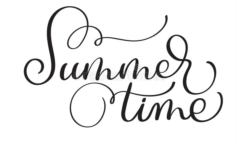 Text summer time on a white background. Calligraphy lettering Vector illustration EPS10 stock illustration