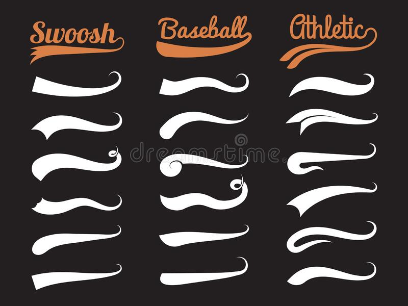 Text swooshes. Typography swirl ornament for sporty labels tails font elements vector collection. Swoosh typography, baseball underline swirl, brush swish stock illustration