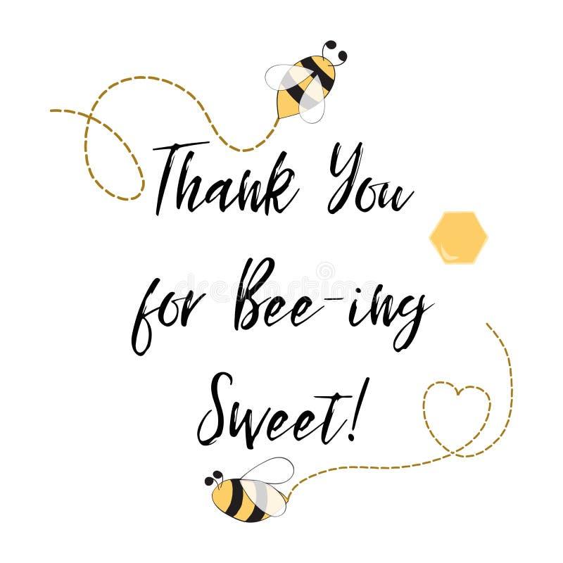 Text tackar dig för att vara söt med biet, honung Den gulliga kortdesignen för förtjusande stapplar bifödelsedagpartiet royaltyfri illustrationer