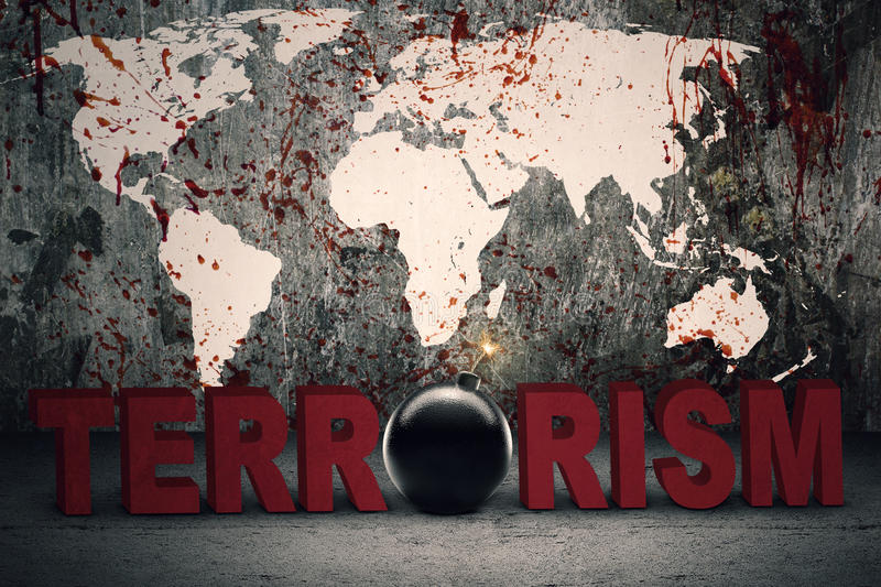 Text of terrorism with bloody map. Terrorism concept: Text of terrorism with a bomb and bloody world map background royalty free stock photography