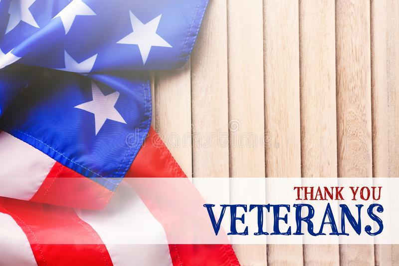 Text THANK YOU, VETERANS and USA flag royalty free stock photography