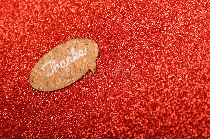 Text Thanks on a red background. Red background with text Thanks. Greeting card royalty free stock photo