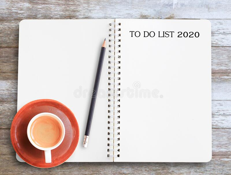 Text for TO DO LIST 2020,Top view of modern workplace stock photos
