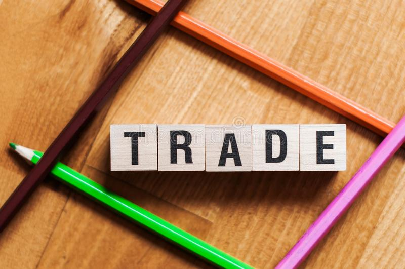 Text of TRADE on cubes.  stock photo