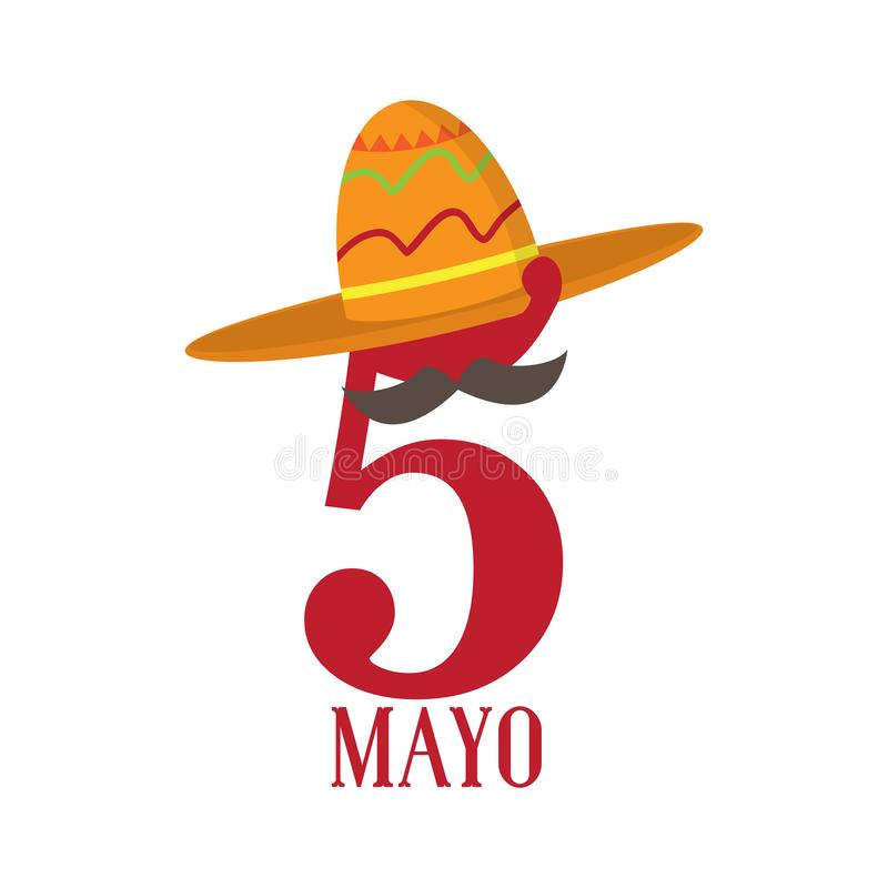 Text with a traditional mexican hat. Cinco de mayo. Vector illustration design royalty free illustration