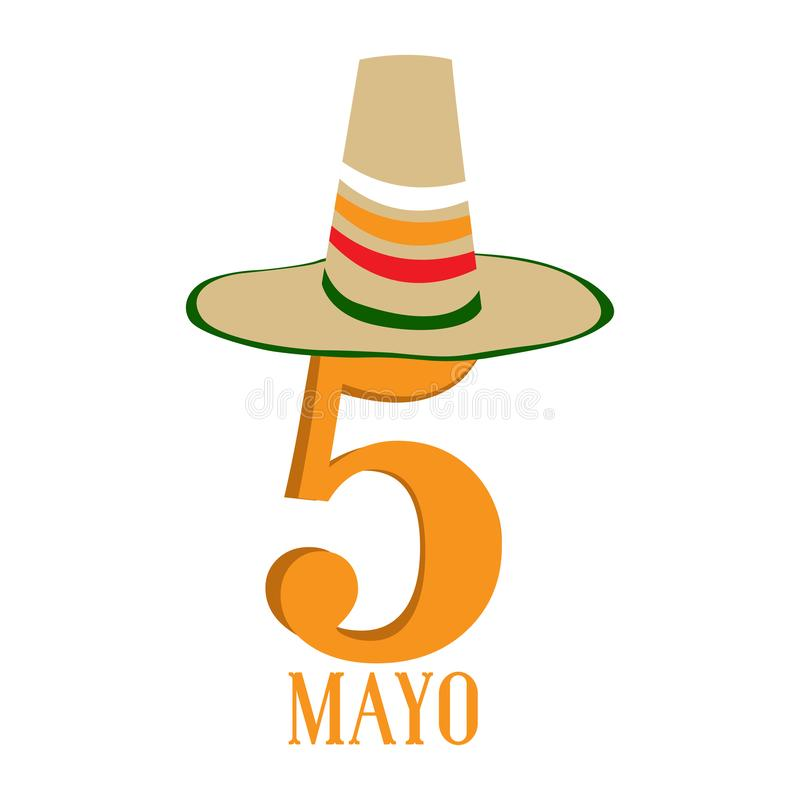 Text with a traditional mexican hat. Cinco de mayo. Vector illustration design stock illustration