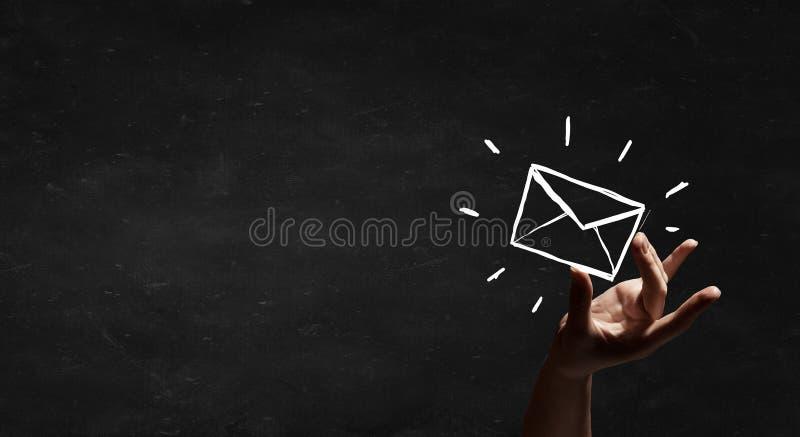 text tre för reflexion för e-post för svart begrepp för bakgrund dimensionell arkivbild