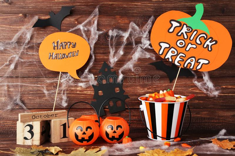 Text Trick or Treat and Happy Halloween royalty free stock photo