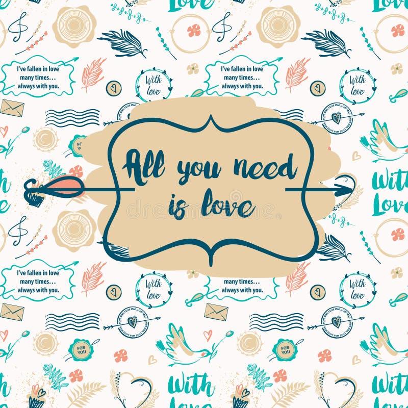 Text tudo que você precisa é amor Teste padrão sem emenda à moda com pássaro FO ilustração royalty free