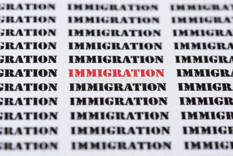 Text/typed word IMMIGRATION stock photography