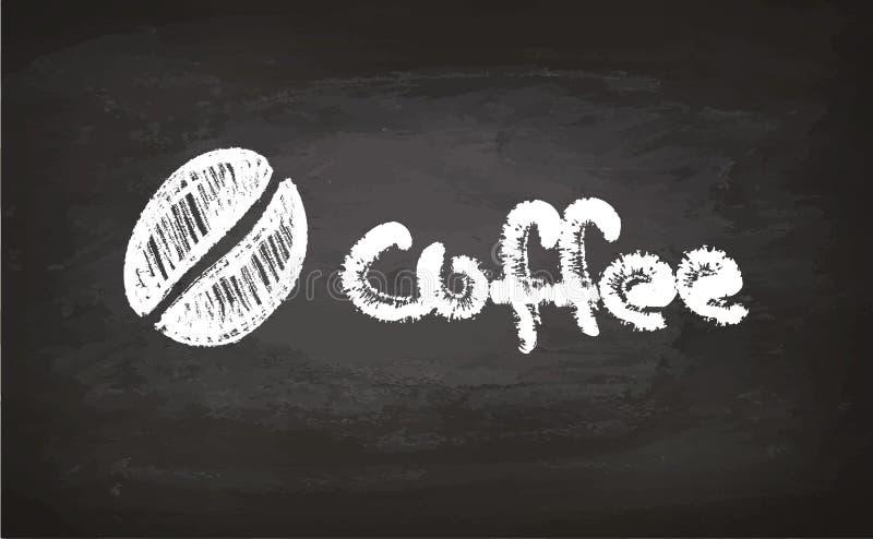 Text- und Kaffeebohnekreideskizze lizenzfreie abbildung