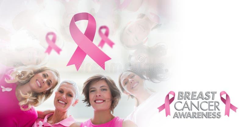 Text und rosa Bänder mit Brustkrebs-Bewusstseinsfrauen stockfoto