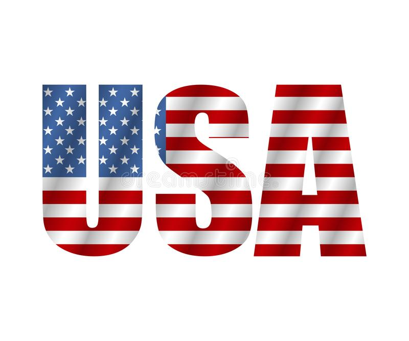 Text USA in style flag. Flag american isolated on white background. Vector vector illustration