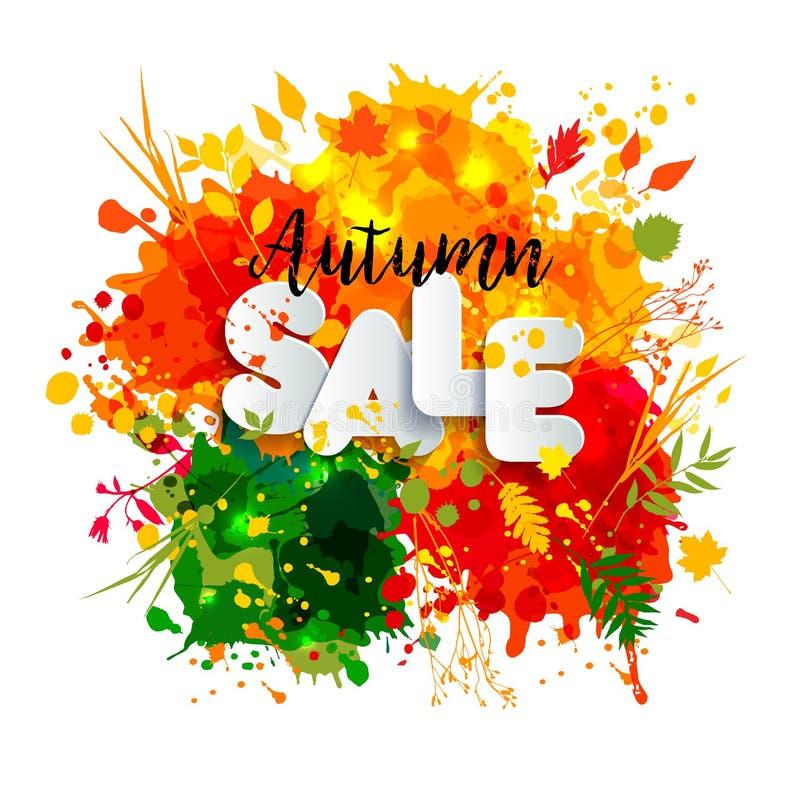 Text a venda no estilo de papel no fundo multicolorido das manchas com bla ilustração royalty free