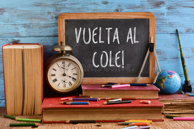 Text vuelta al cole, back to school in spanish royalty free stock image