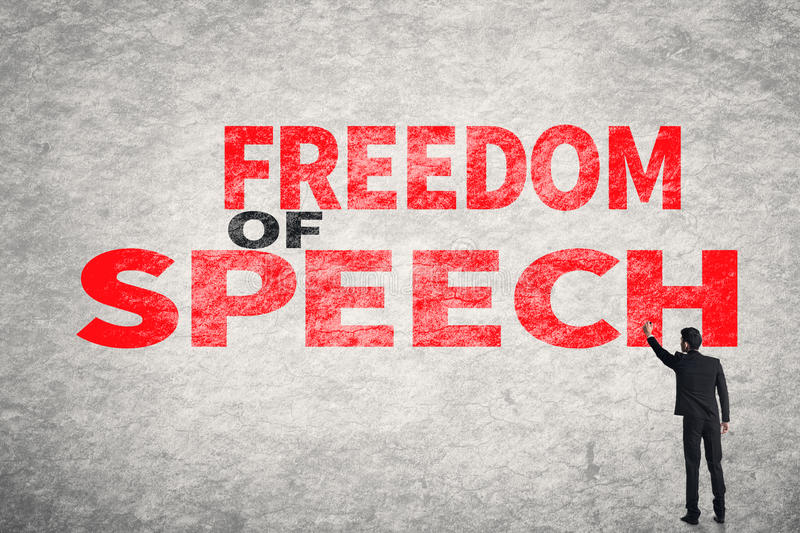 Text on wall, Freedom of Speech stock photo