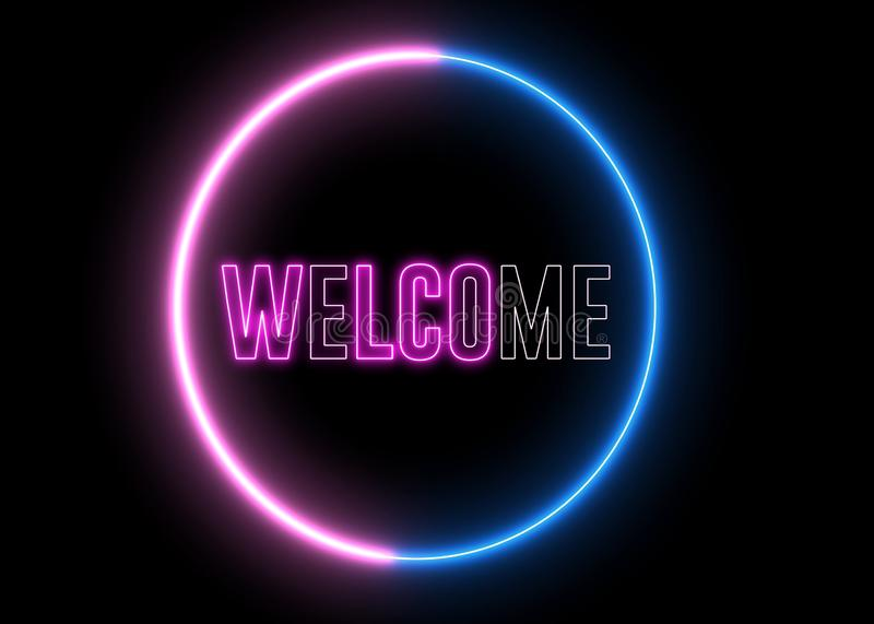 Text of `WELCOME` with neon, glowing light. Futuristic signboard with creative abstract element vector illustration