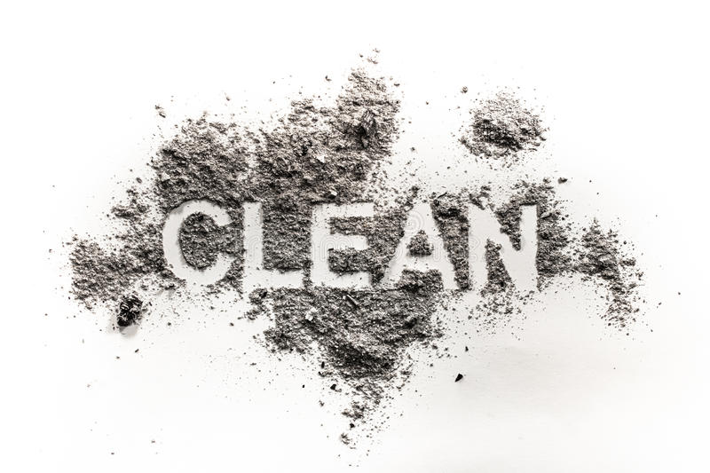 The text word clean written in dirt, filth, dust as hygiene, trash, garbage, dirty, mess, messy, service concept background. The text word clean written in dirt stock images