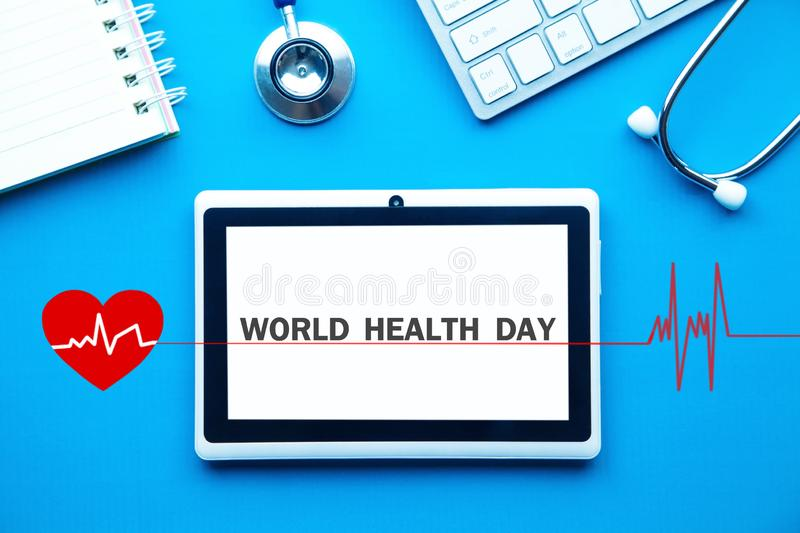 Text World Health Day in tablet screen royalty free stock photos