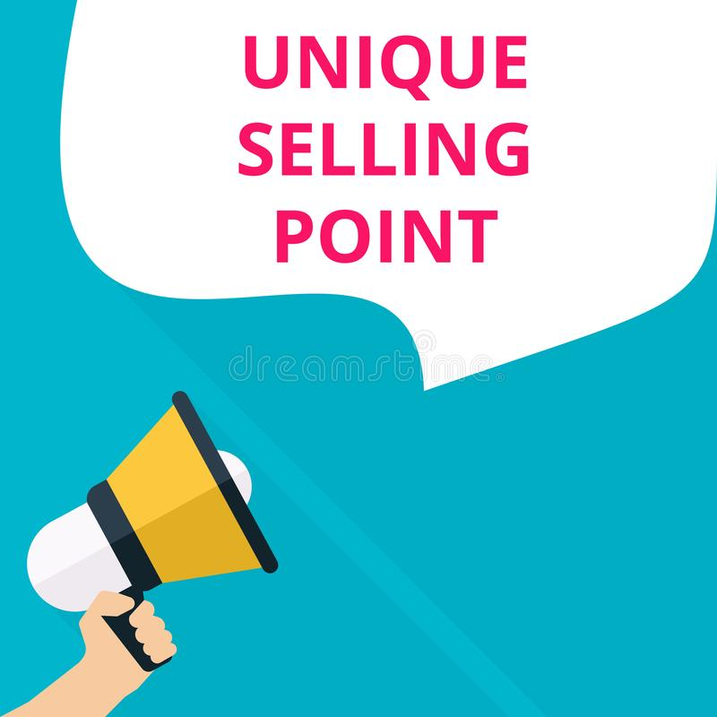 text writing Unique Selling Point vector illustration