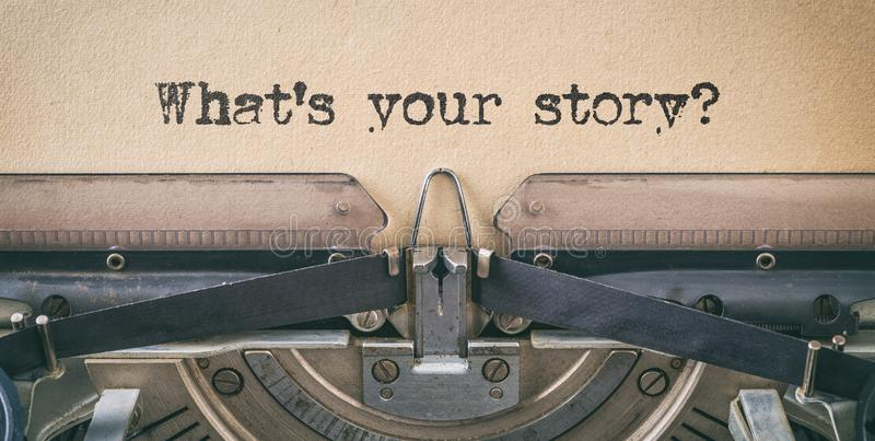 Text written with a vintage typewriter -  What`s your story stock photography