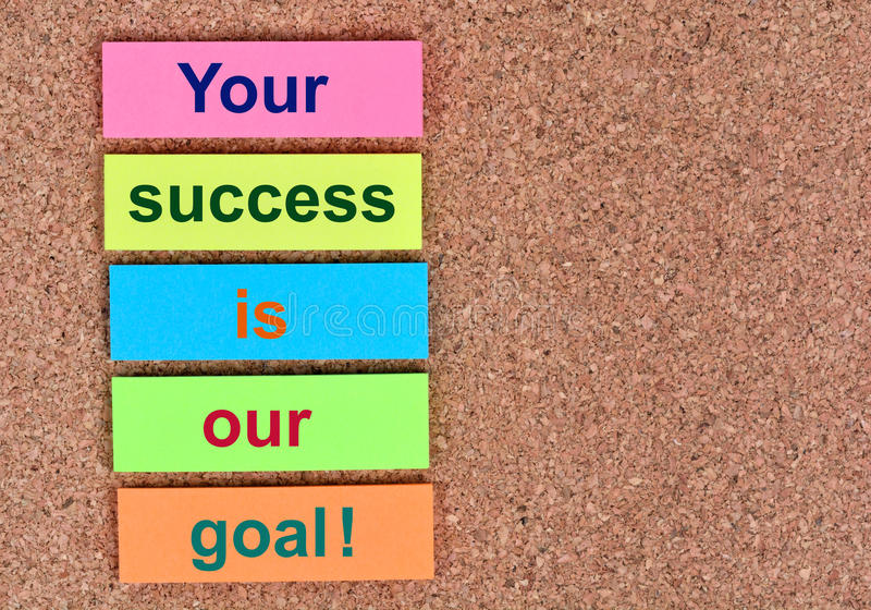 Text Your success is our goal on notes stock images