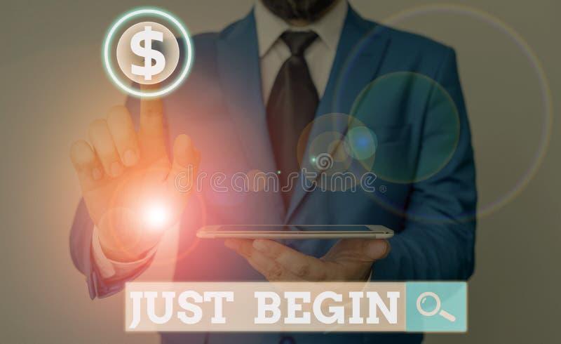 Text zum Schreiben von Wörtern Beginnen Business-Konzept für den Start in die Zukunft Begin zu tun, um etwas in der Wirtschaft od lizenzfreie stockfotos