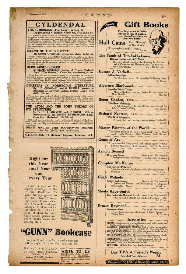 Textanzeige Weinlesezeitschrift der Zeitungsseite englische stockfotos