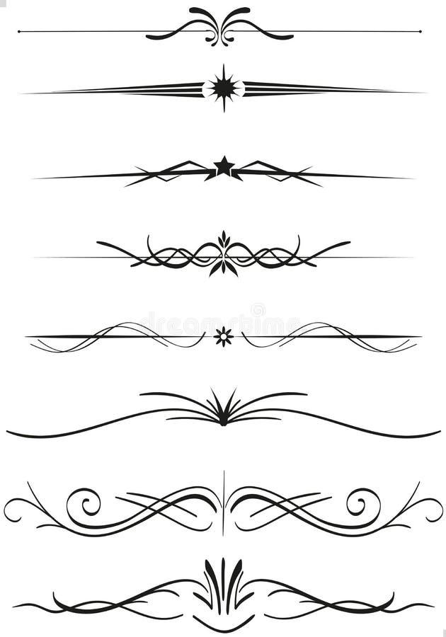 Textavdelarlinjaler vektor illustrationer