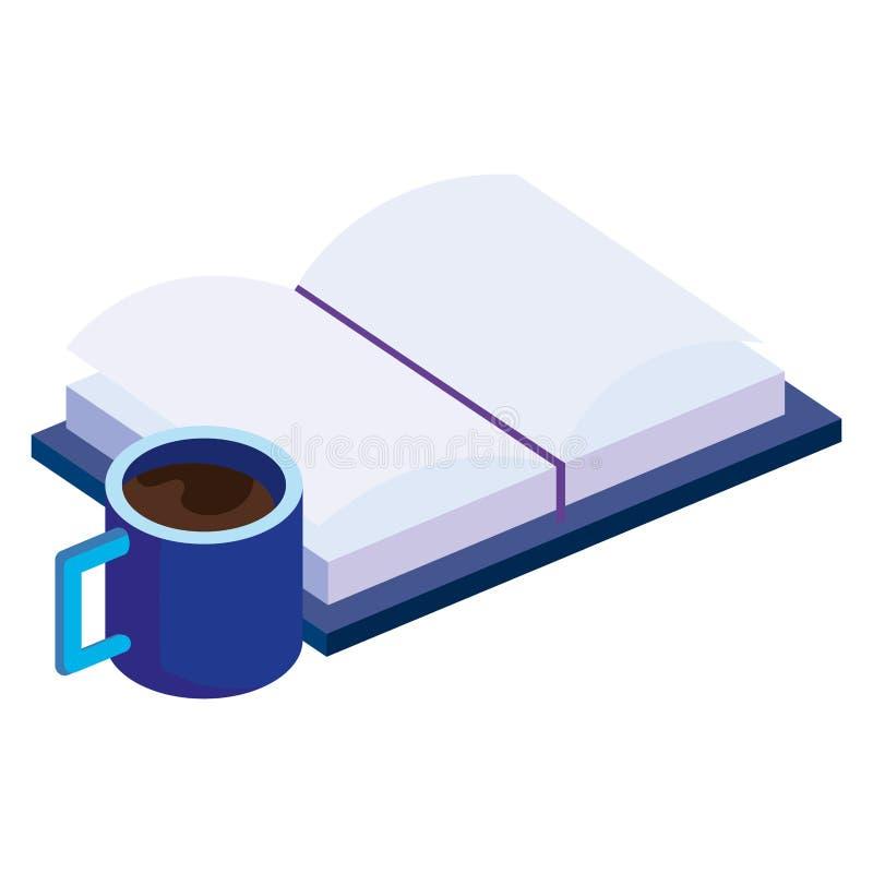 Textbok med kaffekoppen vektor illustrationer