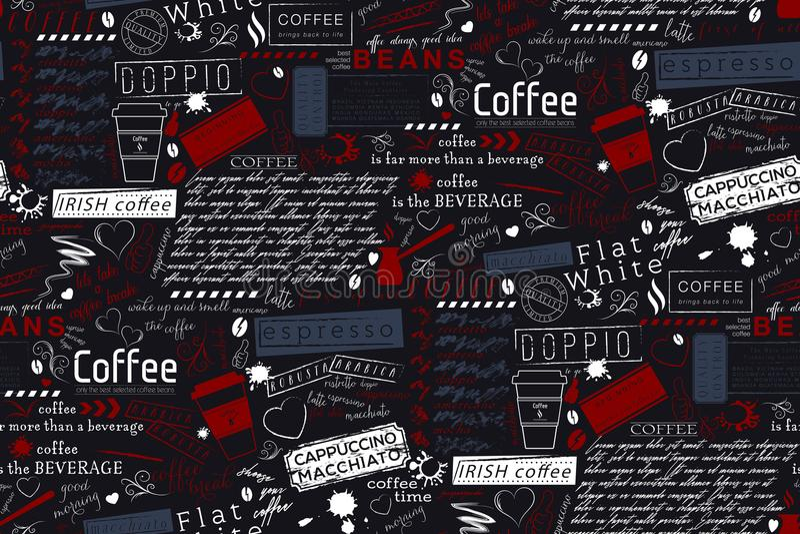 Textbokstäver av kaffe- och kaféuttrycksbakgrund Sömlös vec stock illustrationer