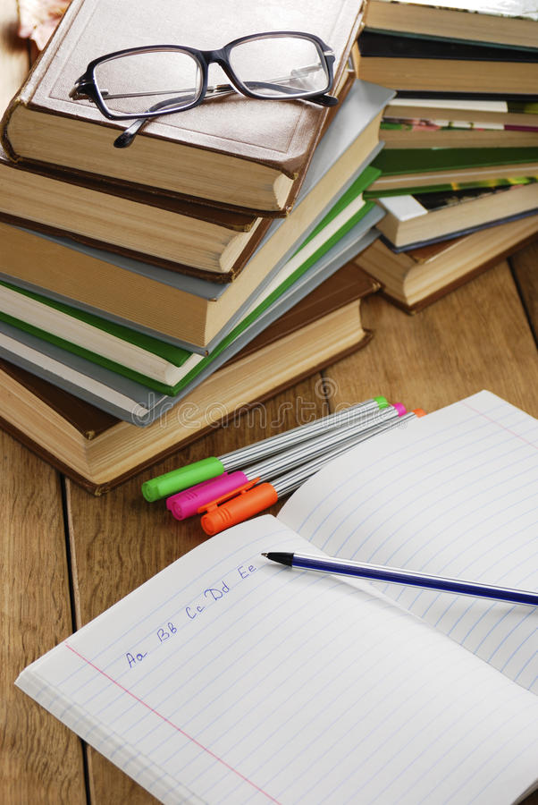 The Textbook With Pen Royalty Free Stock Images