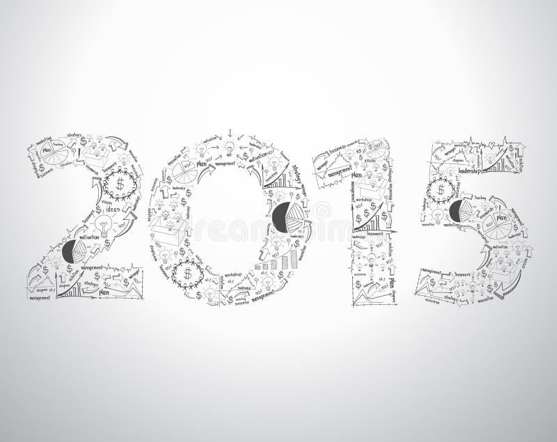 Textdesign des neuen Jahres 2015 des Vektors mit kreativem Zeichnungsgeschäft lizenzfreie abbildung