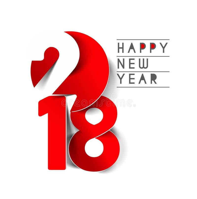 Textdesign för lyckligt nytt år 2018 royaltyfri illustrationer