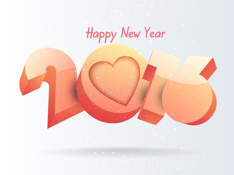 Textdesign för lyckligt nytt år 2016 royaltyfri bild