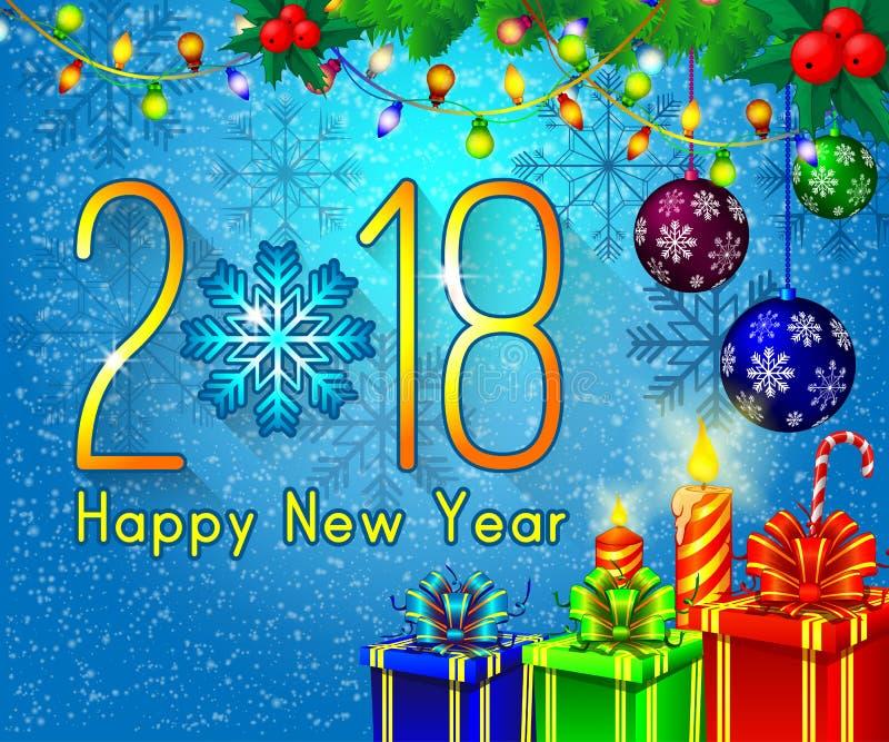 Textdesign för lyckligt nytt år 2018 på en blå bakgrund Vektorhälsningillustration med guld- nummer och snöflingan stock illustrationer