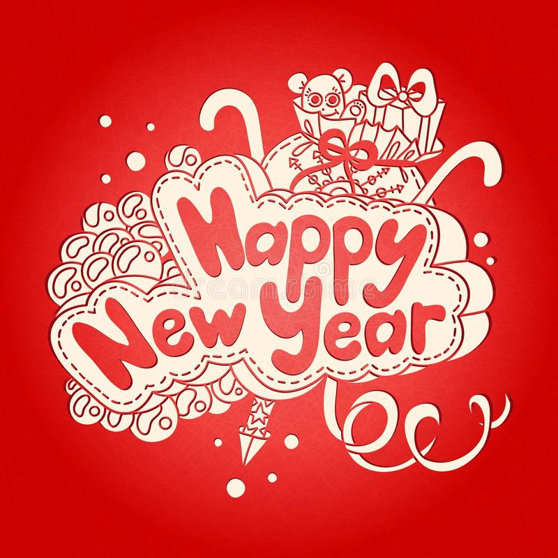 Textdesign för lyckligt nytt år på en röd bakgrund teckningen hand henne morgonunderkläder upp varmt kvinnabarn stock illustrationer