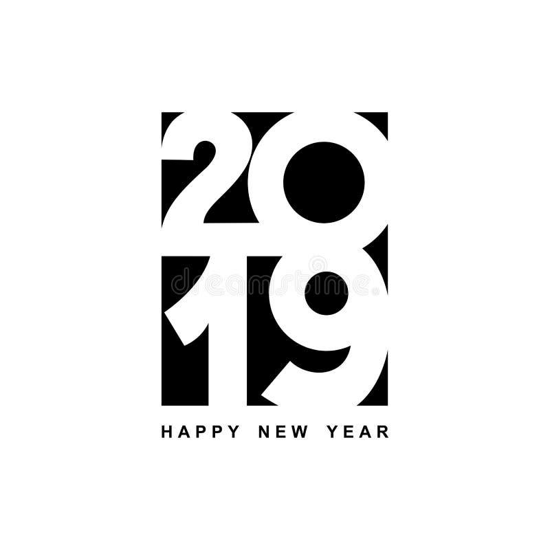 Textdesign för lyckligt nytt år 2019 Räkning av affärsdagboken för 2019 med önska Broschyrdesignmall, kort, baner Vektorillu stock illustrationer