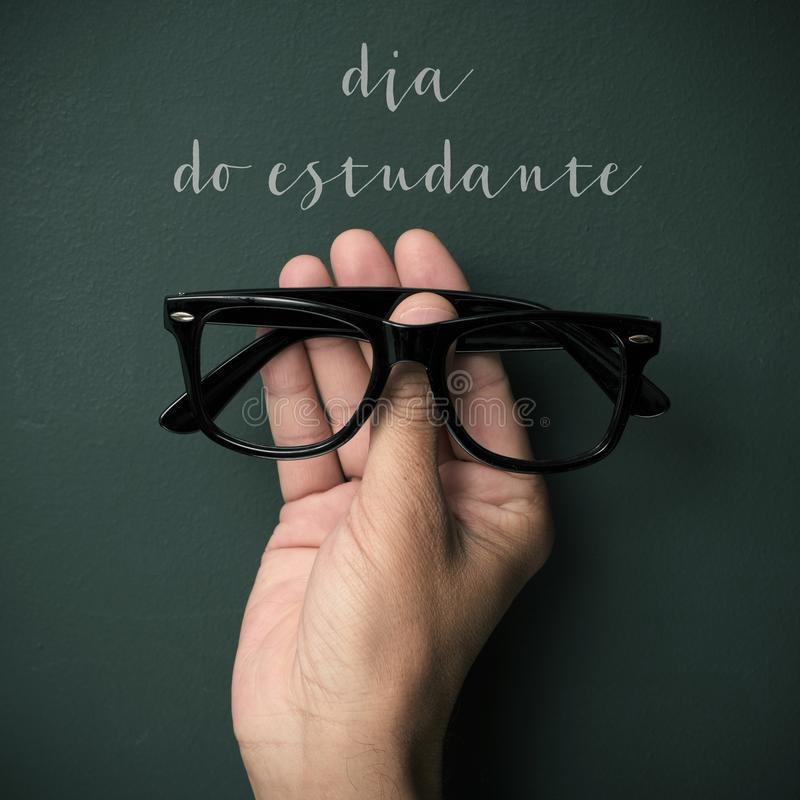 Textdiameter gör estudante, studentdag i portugis arkivbilder
