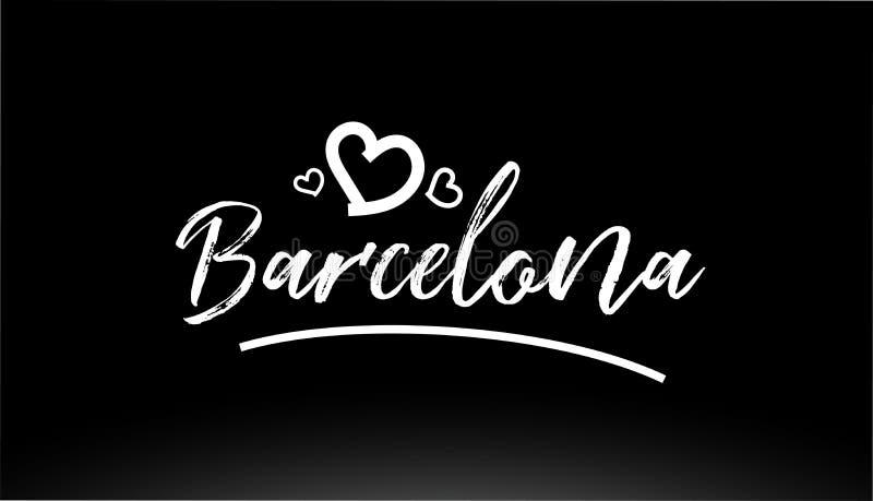 texte écrit de main noire et blanche de ville de Barcelone avec le logo de coeur illustration stock