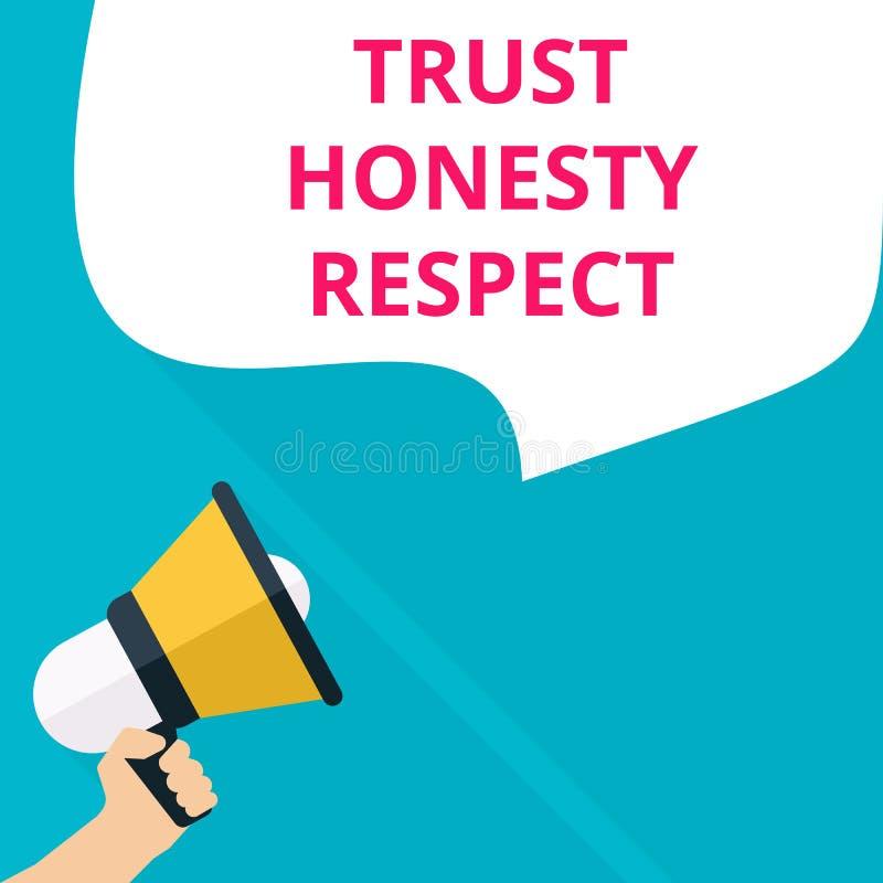texte écrivant le respect d'honnêteté de confiance illustration stock