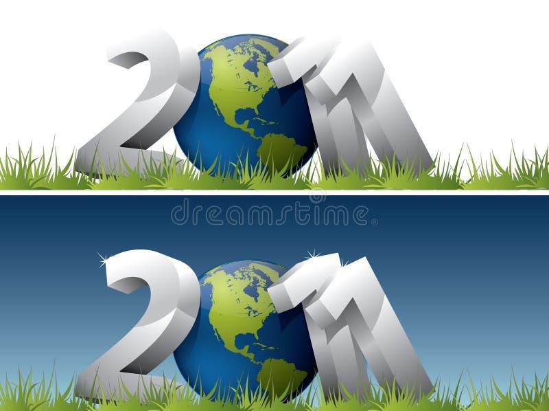 texte 2011 avec le globe de la terre illustration libre de droits