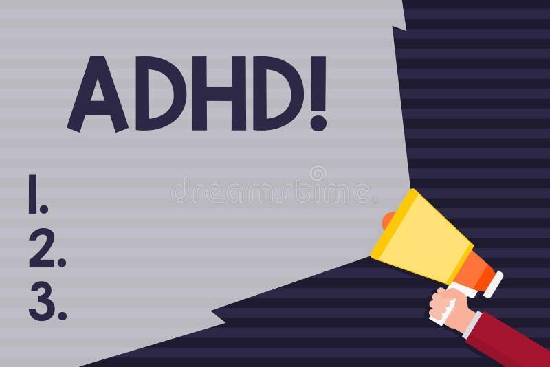 Texte Adhd d'écriture Étude de signification de concept fait plus facile pour l'enseignement d'enfants pas plus une exploitation  illustration stock