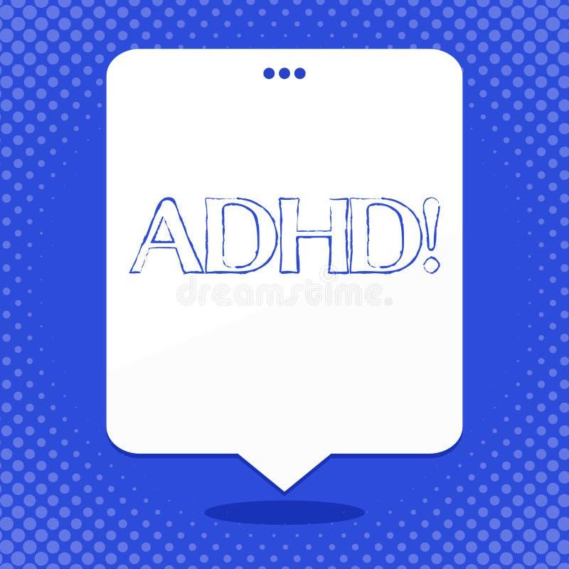 Texte Adhd d'écriture de Word Concept d'affaires pour apprendre fait plus facile pour l'enseignement d'enfants pas plus un blanc  illustration libre de droits