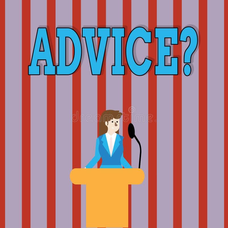 Texte Advicequestion d'écriture La signification de concept conseillant l'aide d'encouragement recommandent le boeuf de soutien illustration de vecteur