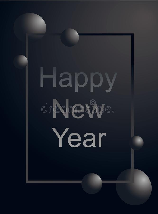 Texte argenté de luxe de carte de voeux de bonne année et boule grise dans de gradient le cadre verticalement sur le fond noir ma illustration de vecteur
