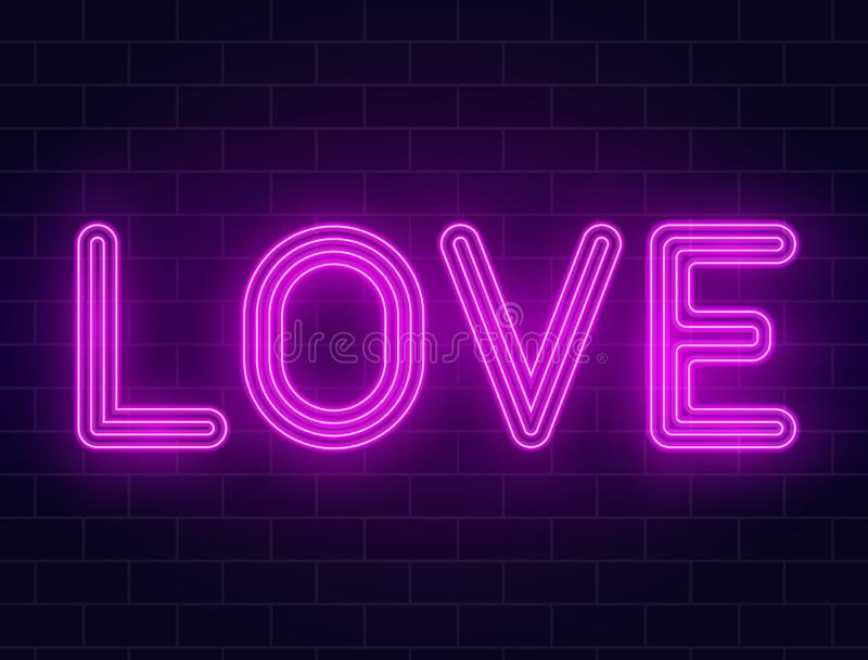 Texte au néon d'amour sur un mur de briques Fond de jour de valentines avec l'enseigne au néon rougeoyante pourpre avec le contre illustration de vecteur